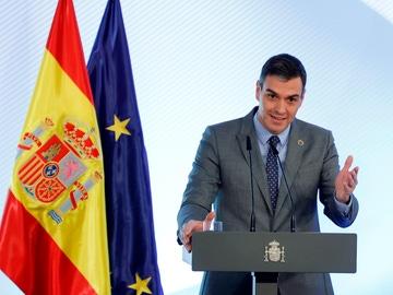 Pedro Sánchez durante su comparecencia en Mérida