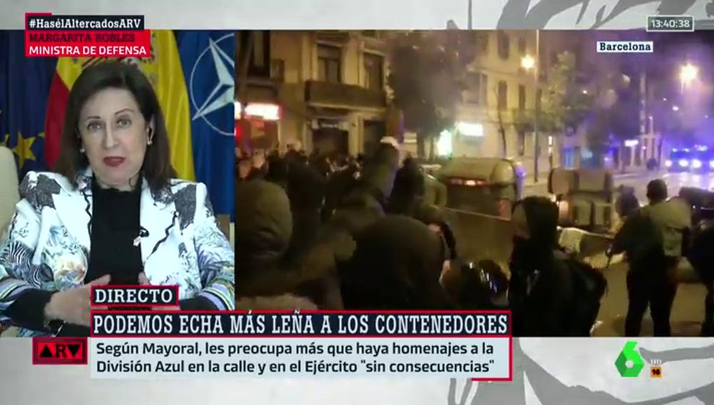 """Robles """"no comparte"""" el silencio de Podemos por los disturbios por Hasél: """"No podemos tener complicidad con la violencia"""""""