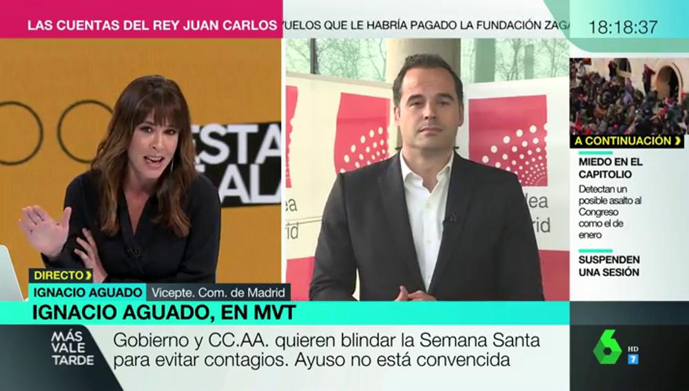 """La réplica de Mamen Medizábal a Ignacio Aguado: """"El derecho fundamental prioritario en este momento es el de la vida"""""""
