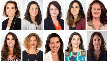 Cuca Gamarra, Inés Arrimadas, Adriana Lastra, Ione Belarra, Carla Antonelli, Noelia Vera, Meritxell Batet, Rocío Monasterio, Sara Giménez y Andrea Levy