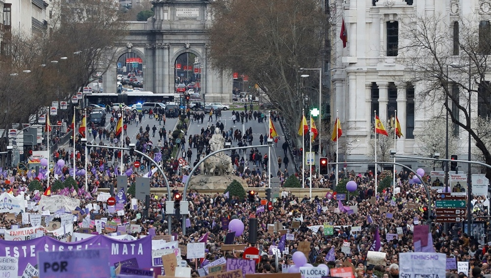 La manifestación del 8M celebrada en 2020 en Madrid
