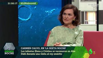 """Carmen Calvo critica la vacunación de las infantas: """"No es entendible ni aceptable de ninguna manera"""""""