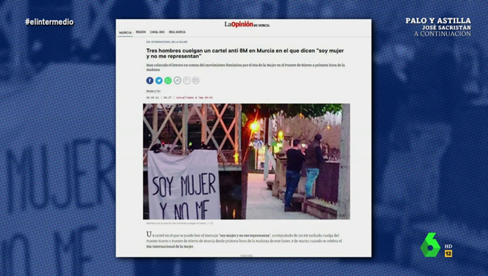 """Dani Mateo alucina con la pillada a tres hombres desplegando una pancarta contra el 8M con el mensaje: """"Soy mujer y no me representan"""""""