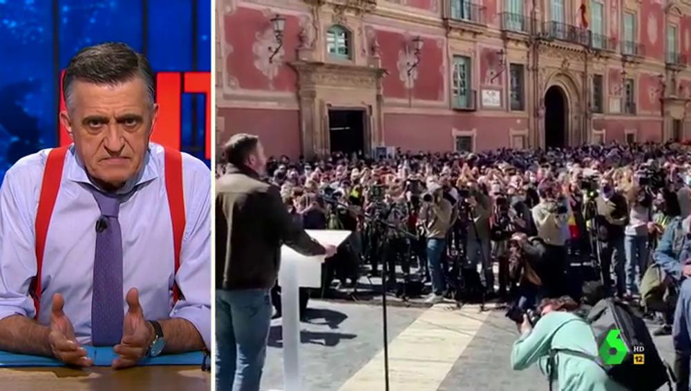 """La crítica de Wyoming al acto multitudinario de Abascal en Murcia: """"Para ser un peligro tendrían que ser mujeres celebrando el 8M"""""""