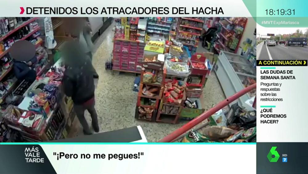 Las impactantes imágenes de un violento atraco a un establecimiento chino en Navarra