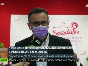 """El líder del PSOE en Murcia arremete contra el PP de López Miras: """"Es corrupción democrática pura y dura"""