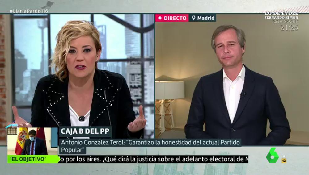 """El tenso momento de la entrevista de Cristina Pardo a González Terol (PP): """"¿Por qué les cuesta tanto decir si Bárcenas dice o no la verdad?"""""""