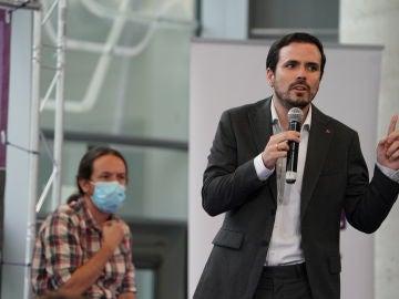 Pablo Iglesias y Alberto Garzón en un acto de campaña de UP