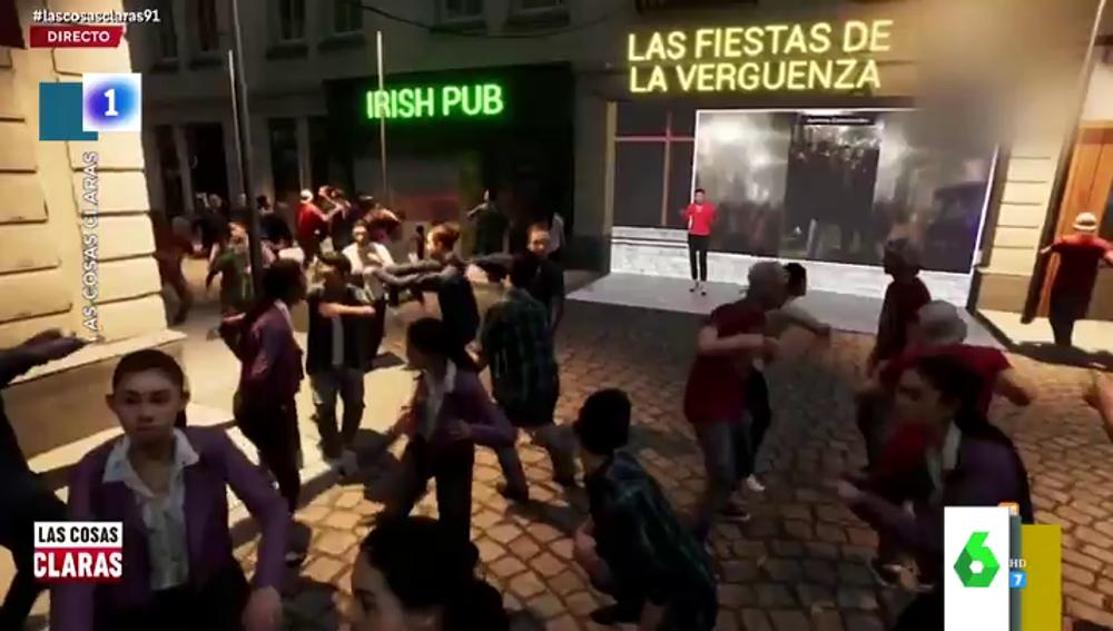 """El """"fiestón"""" en realidad virtual de RTVE para recrear las irresponsabilidades en las calles de Madrid"""