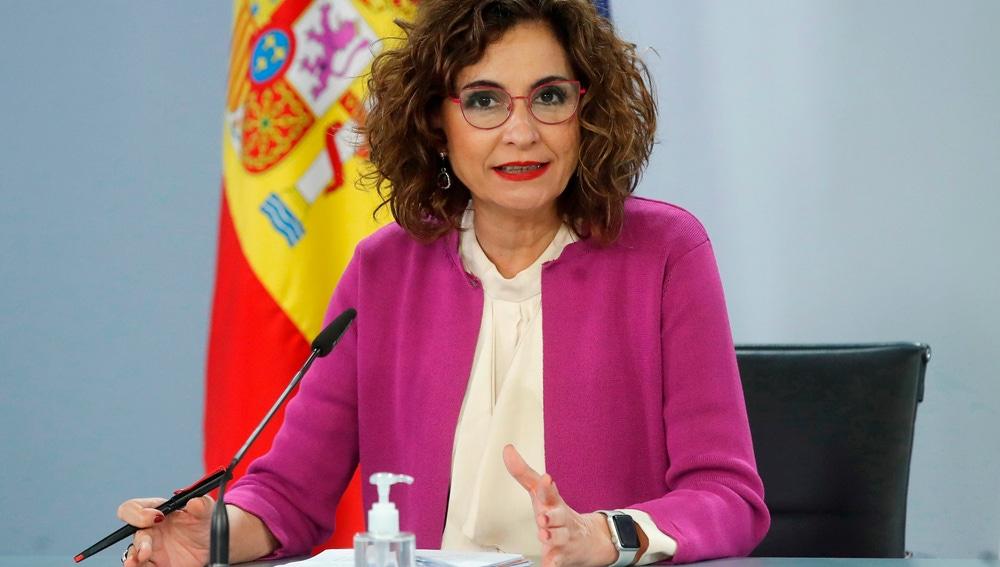 La portavoz del Gobierno, María Jesús Montero, en el Consejo de Ministros de este martes