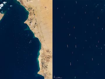 Imágenes satélite del bloqueo en el canal de Suez