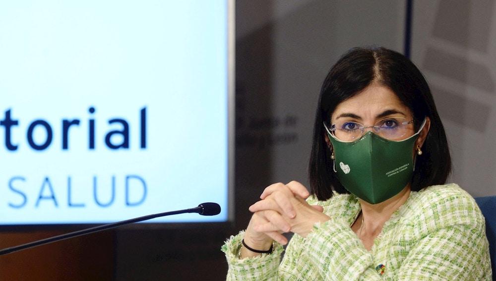 Carolina Darias, ministra de Sanidad, en su comparecencia tras e Consejero Interterritorial en Valladolid