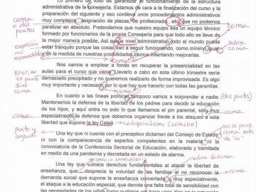Documento de María Isabel Campuzano corregido por 'Docentes Unidos'