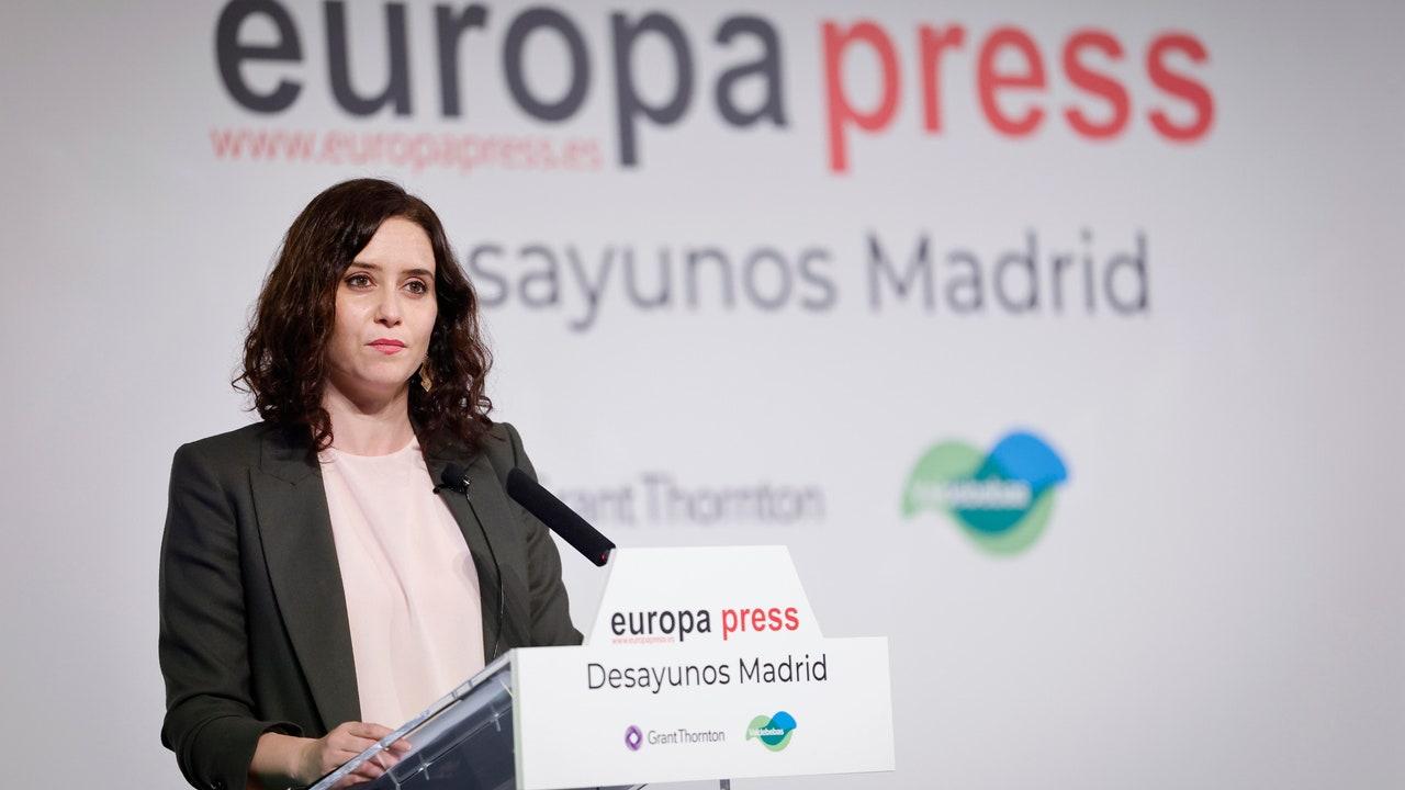 Isabel Díaz Ayuso en el desayuno informativo de Europa Press.