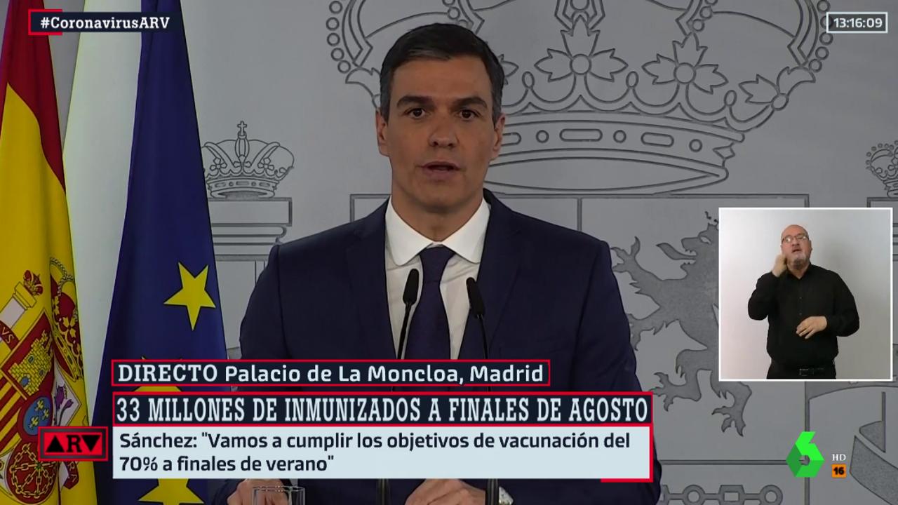 Pedro Sánchez, durante su comparecencia en Moncloa