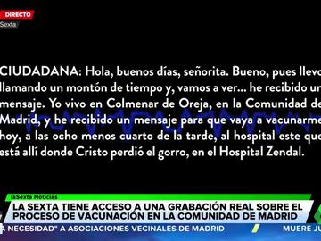 Llamada a la Consejería de Sanidad de Madrid