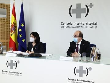 Carolina Darias y Miquel Iceta durante el Consejo Interterritorial