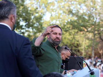 Santiago Abascal durante el acto de Vox en Vallecas