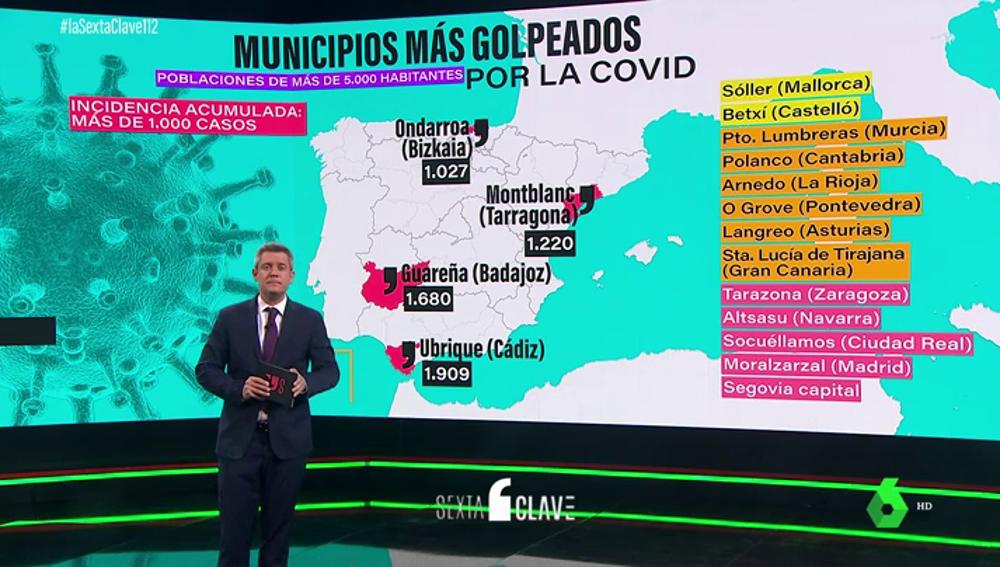Estos son los municipios más golpeados por el coronavirus de toda España