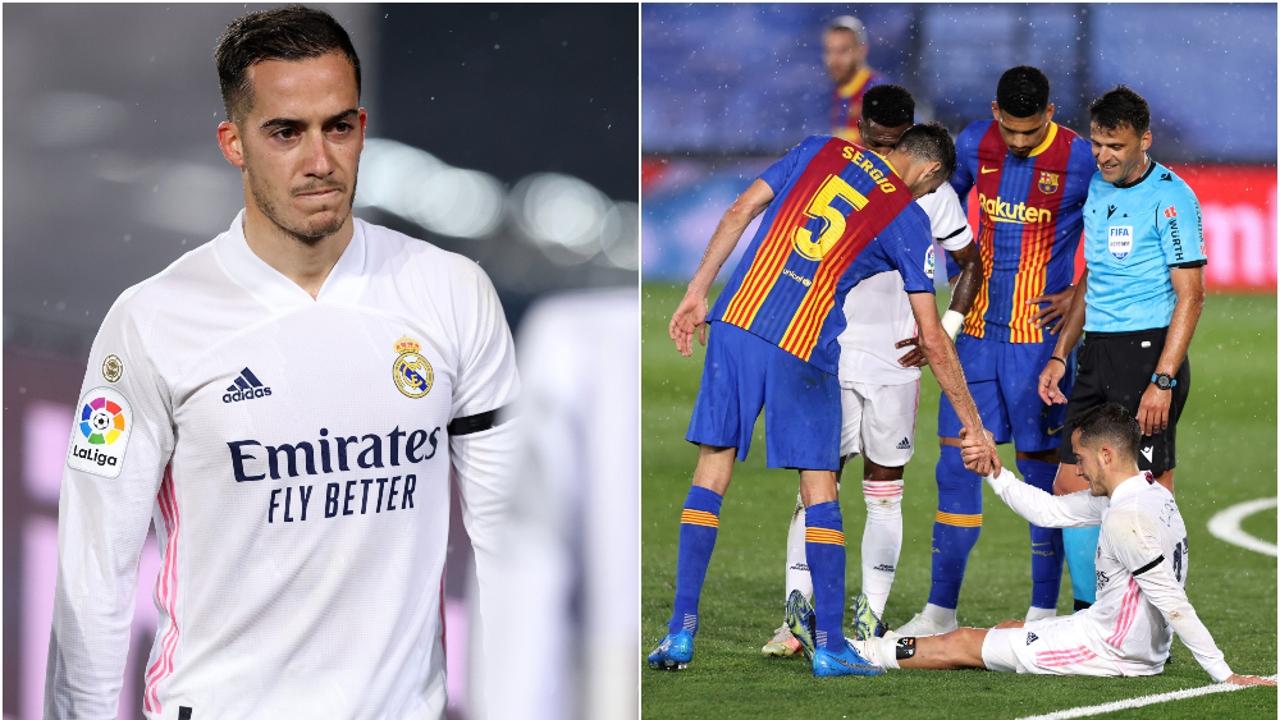 Lucas Vázquez cayó lesionado en una acción con Busquets en el Clásico