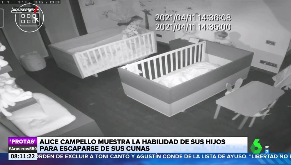 El vídeo de los hijos de Alice Campello y Álvaro Morata escapándose de sus cunas
