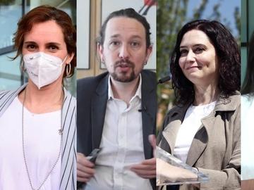 Ángel Gabilondo, Mónica García, Pablo Iglesias, Isabel Díaz Ayuso y Rocío Monasterio