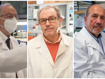 De izquierda a derecha: Luis Enjuanes, Vicente Larraga y Mariano Esteban, los tres investigadores líderes de los proyectos de vacunas españolas.