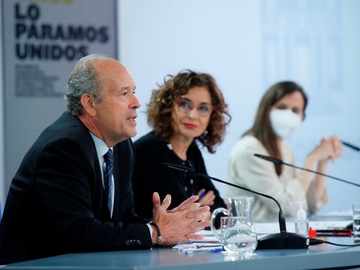 El ministro de Justicia, Juan Carlos Campo, durante la rueda de prensa posterior al Consejo de Ministros.