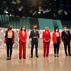 Los candidatos a la presidencia de la Comunidad de Madrid minutos previos al debate
