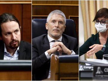 En la imagen, Pablo Iglesias, Fernando Grande Marlaska y María Gámez