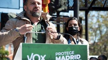 La candidata de Vox a la presidencia de la Comunidad de Madrid, Rocío Monasterio (d), y el presidente del partido, Santiago Abascal,
