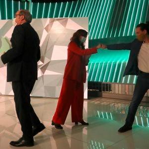 En la imagen, Ángel Gabilondo, Mónica García y Pablo Iglesias