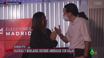 Momento en el que Pablo Iglesias abandona el debate electoral de la SER