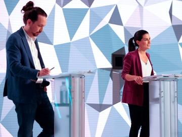 Pablo Iglesias y Rocío Monasterio, en el debate de Telemadrid por las elecciones del 4M en Madrid
