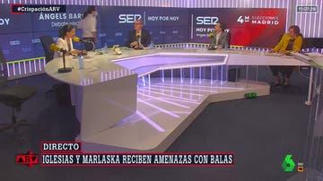 Momento en el que Iglesias abandona el set del debate.