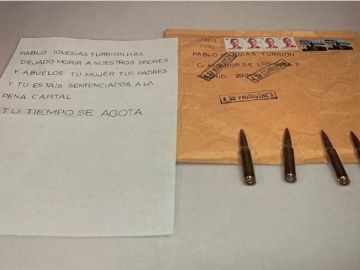 La carta amenazante con balas dirigida a Pablo Iglesias