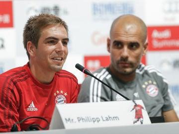 Phillip Lahm y Pep Guardiola