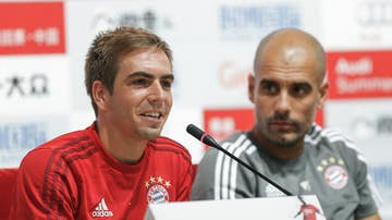 Phillip Lahm y Pep Guardiola