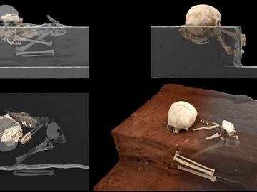Reconstrucción virtual de los restos del homínido de Panga ya Saidi en la cavidad