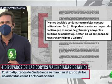 Cuatro diputados de Ciudadanos en las Cortes Valencianas dejan el partido pero no su acta y se pasan al grupo mixto