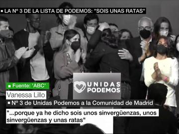 """El audio de la número 3 de Iglesias el 4M, de IU, criticando a Podemos: """"Sois unos sinvergüenzas y unas ratas"""""""