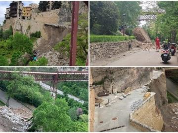 Así ha quedado el principal acceso a las Casas Colgadas de Cuenca tras el derrumbe